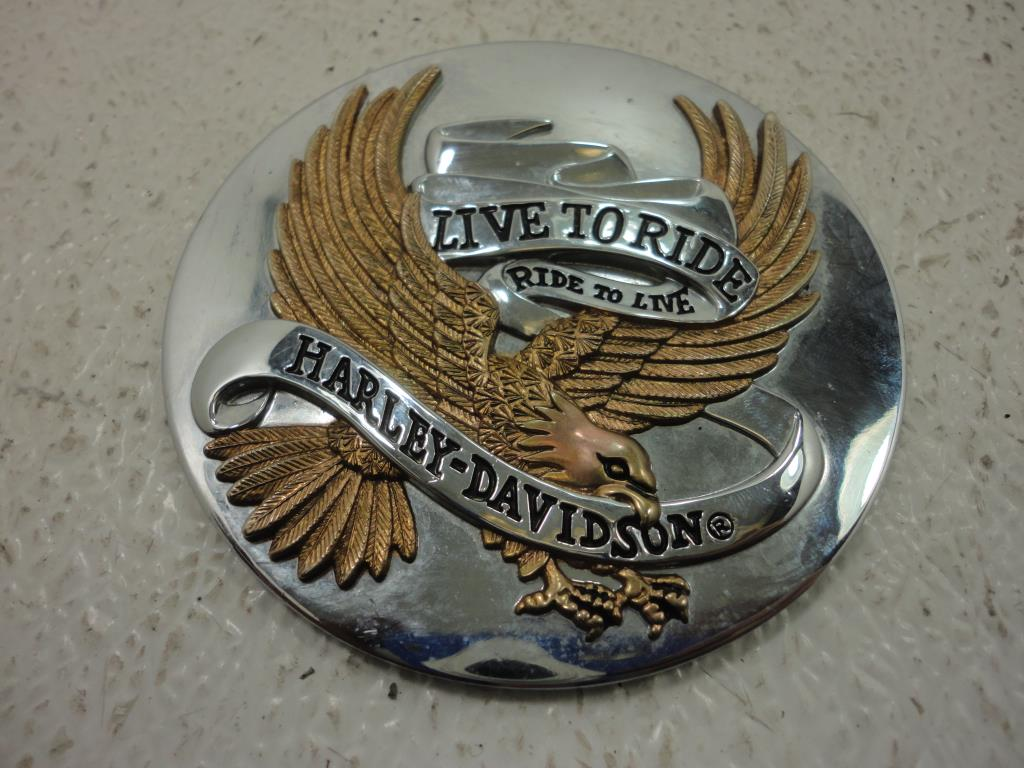 USED Harley Davidson Live To Ride Eagle Gold Adhesive Medallion 3.5 INCHES
