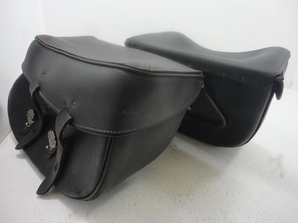 USED 2000-2017 Harley Davidson Softail LEATHER SADDLEBAG SADDLEBAGS W/BRACKETS