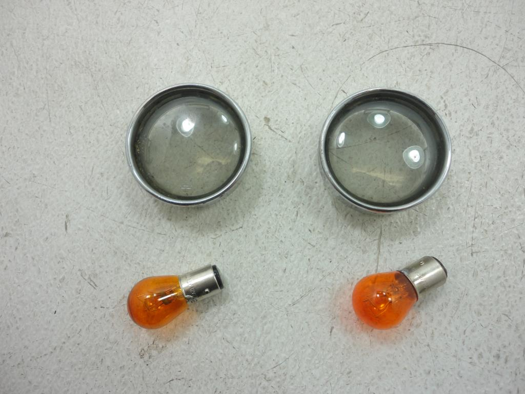 USED Harley Davidson FRONT TURN SIGNAL RING KIT SMOKE VROD Softail Sportster Dyna